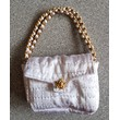 Purse White Quilted with Chain Handle
